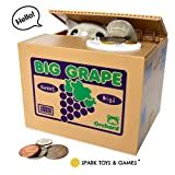 Coin Stealing Cat Piggy Bank - Cute Short-Haired Grey Kitty Comes Out of The Grape Box and Steals Coins Like Magic - Fun Piggy Bank for Kids of All Ages!