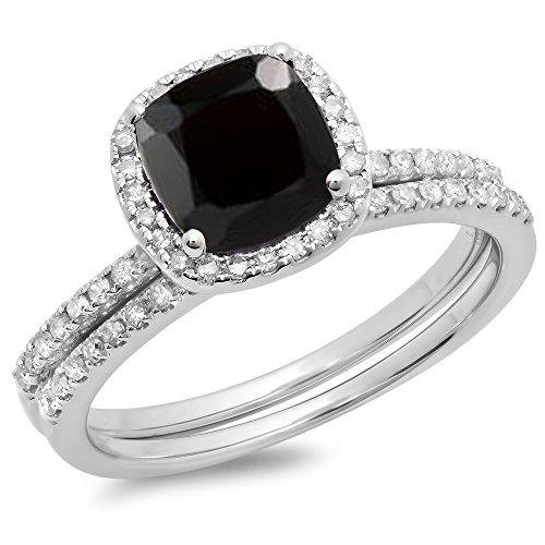 Dazzlingrock Collection 14K 7 MM Cushion Black Sapphire & Round White Diamond Halo Wedding Ring Set, White Gold, Size 6