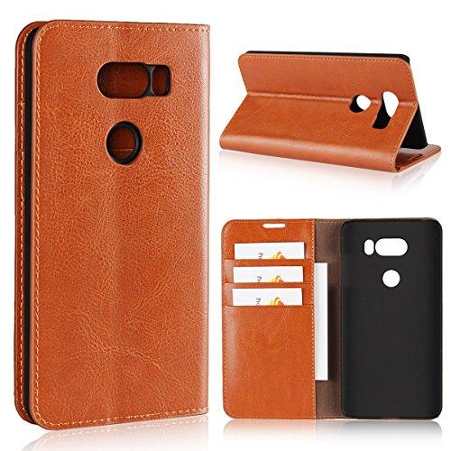 Sunrive Für LG V30/LG V30 Plus/LG V30S, Echt-Ledertasche Schutzhülle Hülle Standfunktion Flip Lederhülle Hülle Handyhülle Schalen Kreditkarte Handy Tasche(Braun gelb)+Gratis Universal Eingabestift