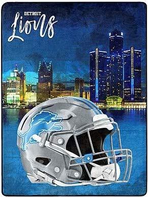 Northwest Detroit Lions Watercolor City Skyline Super Sized Micro Raschel Plush 60 x 80 Blanket Throw