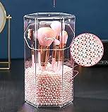 Organizador de Maquillaje brochas acrílico,Organizador de maquillaje,Prueba de Polvo Estante,con Tapa Caja de Almacenamiento,Oraganizador Maquillaje Grande con Perlas(perla rosa y blanca)