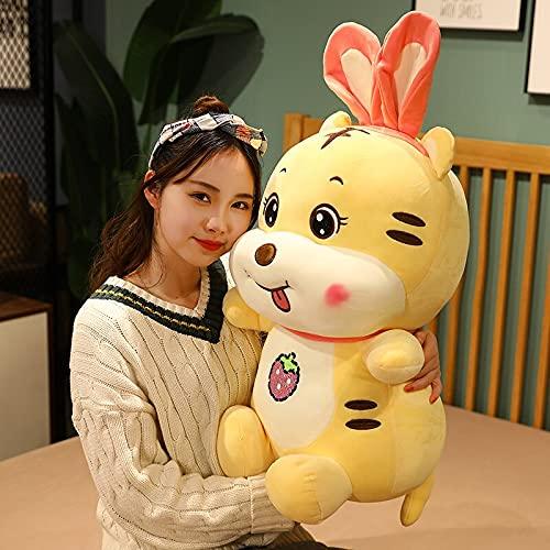 Ankepwj Kawaii Tiger with Rabbit Ears Plush Toys Soft Cartoon Animal Tiger Doll Pillow Children Kids Birthday Gifts 40cm