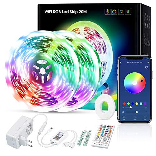 Rilitor Alexa 5050 RGB LED Strip 20 m, Smart App Control, Musiksync, con mando a distancia, compatible con Alexa, Echo y Google Home, 2 rollos de 10 m