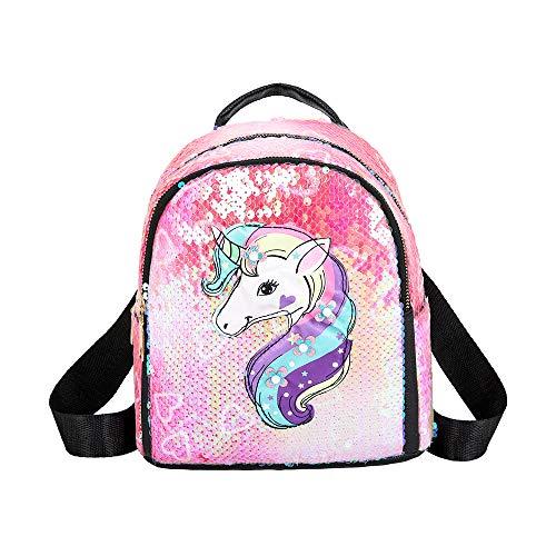 Ikaif Mochila De Lentejuelas Brillantes Mini Unicornio para Niñas, Mochila Escolar con Cierre De Cremallera, Mochila De Viaje Duradera Y De Moda para Niños, Mochila con Tirantes Ajustables (Pink)