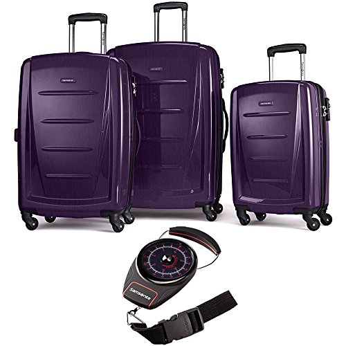 Samsonite 56847-1717 Winfield 2 Fashion Hardside 3 Piece Spinner Set 20 Inch, 24 Inch, 28 Inch - Purple Bundle with Manual Luggage Scale