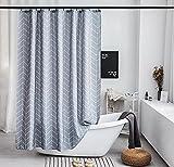 TopTree Duschvorhäng, Duschvorhang Anti-Schimmel Bakteriell Duschvorhang aus Polyester Wasserabweisend Shower Curtain mit 12 Duschvorhangringen (Graue Streifen,180x180)