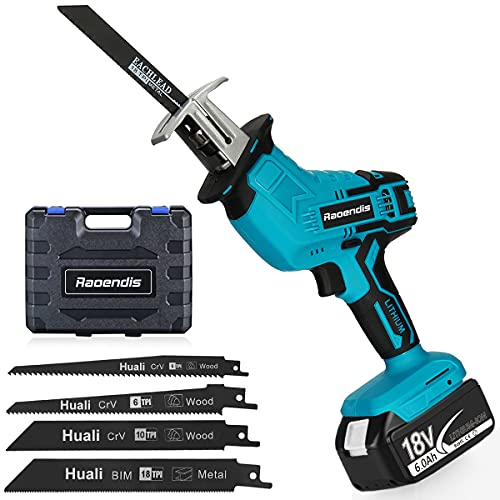 Raoendis 18V MAX Cordless One-handed Reciprocating Saw, 6.0Ah Li-ion Battery, 4 Saw Blades for Wood/Metal/PVC Pipe Cutting, Tree Trimming, Demolition