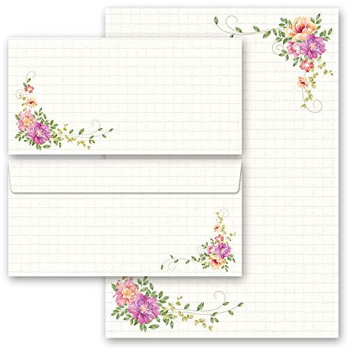 Briefpapier Sets Blumen & Blüten, BLUMENBRIEF 20 Blatt Briefpapier + 20 passende Briefumschläge DIN LANG ohne Fenster | Paper-Media