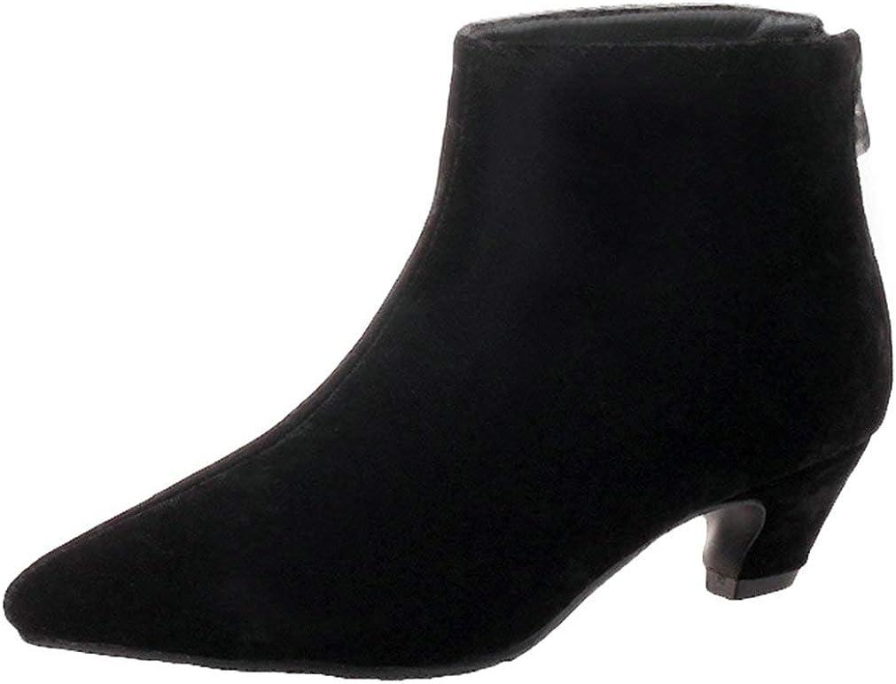 KOKOMOMO Womens Kitten Heel Pointed Toe Boots Ankle specialty shop Up New York Mall Zip Autum