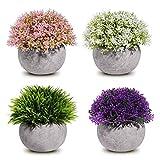 TURMIN 4 Pack Mini Plantas Falsas en Macetas Arbustos Artificiales de Topiario Plantas de Eucalipto de Plástico Sintético para el Jardín del Hogar Decoración de La Oficina