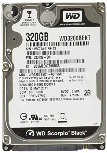 WD Black 320 GB Mobile Hard Drive, 2.5 Inch, 7200 RPM, SATA II, 16 MB Cache (WD3200BEKT)  (Old Model)