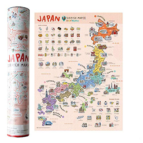 Mcbazel Landkarte zum Rubbeln 40 x 30 cm Japan-Serie Personalisierte Poster Reise Karte