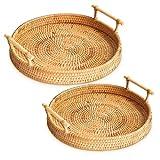 Bandeja tejida hecha a mano para pan, bandejas de cesta para mesa de café, mesa tejida, alimentos de frutas y verduras, cesta para servir restaurante, marrón, MarHermoso (22 x 3,5 cm)
