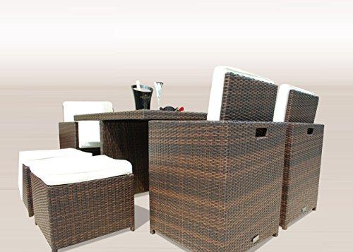 Ragnarök-Möbeldesign PolyRattan - DEUTSCHE Marke - EIGNENE Produktion - 8 Jahre GARANTIE auf UV-Beständigkeit Gartenmöbel Essgruppe Tisch + 4 Stühle & 4 Hocker 12 Polster Braun - 8