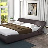 Amolife Modern Queen Platform Bed Frame with Adjustable Headboard,Mattress Foundation Deluxe Solid Faux Leather Bed Frame with Wood Slat Support Dark Brown