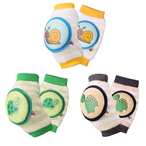 Ava & Kings Baby Knee Pads for Crawling - Babies Stuffs Gift Ideas for Infants - Protect Elbows and Legs w/Breathable Warmer Cotton and Anti-Slip Elastic - Unisex for Boys & Girls - Set of 3