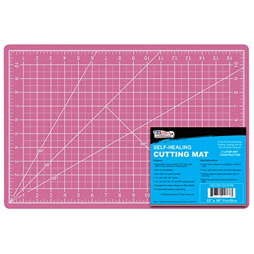 "US Art Supply 12"" x 18"" PINK/BLUE Professional Self Healing 5-Ply Double Sided Durable Non-Slip PVC Cutting Mat Great for Scrapbooking, Quilting, Sewing and all Arts & Crafts Projects"