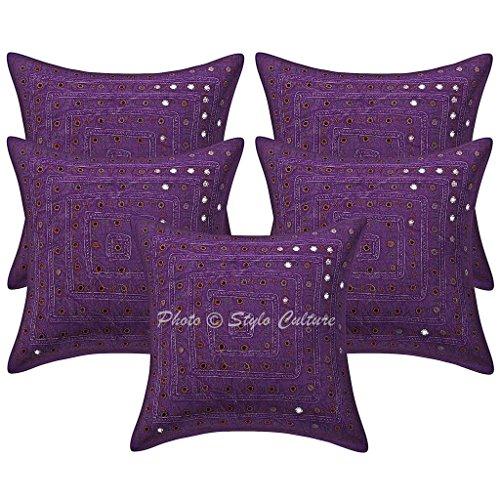 Stylo Culture Algodón Bordado Espejo de Encaje púrpura 16x16 étnica cojín Cubierta geométrica Cuadrado Conjunto de 5