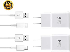 Samsung Wall Charger Adaptive Fast Charger Kit,ChiChiFit 2 Pack Travel Charging Adapter + 2 Type-C USB Data Cables Compatible with Samsung Galaxy S8/S9/S10 Plus/note8/9 and More (White)