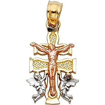 23mm x 15mm Million Charms 14k Two-tone Gold Small//Mini Religious Cross Charm Pendant