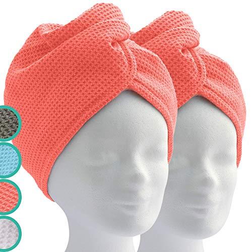 ELEXACARE Toalla turbante con botón (2 unidades Coral), toalla de microfibra para cabeza y pelo largo