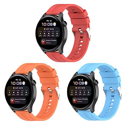 Bexido Correa compatible con Huawei Watch 3 Band, paquete de 3 accesorios de silicona suave para Huawei Watch 3/Watch 3 Pro/Huawei Watch GT 2 Pro