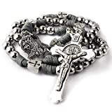 HanlinCC Large and Heavy Stainless Steel Beads Rugged Durable Paracord Rosary Necklace for Men with St.Michael Center Piece and St.Benedict Crucifix (Grey Paracord Rosary)
