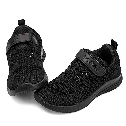 nerteo Toddler Sneakers Boys Girls Kids Running School Uniform Shoes | Breathable, Lightweight. Machin Washable All Black 13 M US Little Kid