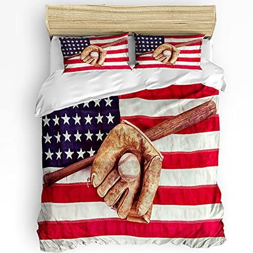 AmbeHome Duvet Cover Set 3 Piece Bedding Sets Full Size, USA National Flags and Baseball Sports Glove Duvet Comforter Set Soft Microfiber Fill Bedding with 1 Comforter Cover, 2 Pillowcases