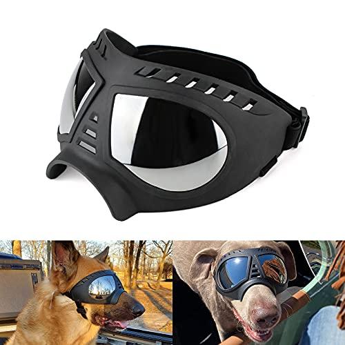 Namsan Hundebrille UV Wasserdicht Winddicht Einstellbar Hunde Sonnenbrille Mode Hunde Schutzbrille für Mittel Große Hunde-Schwarz