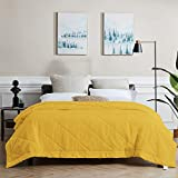 SunStyle Home Bed Quilt Queen Yellow Bedspread, Lightweight Thin Comforter for All Season, Soft Cozy Quilted Blanket Bedding (90''x90'', Mustard) (Upgraded Stitching)