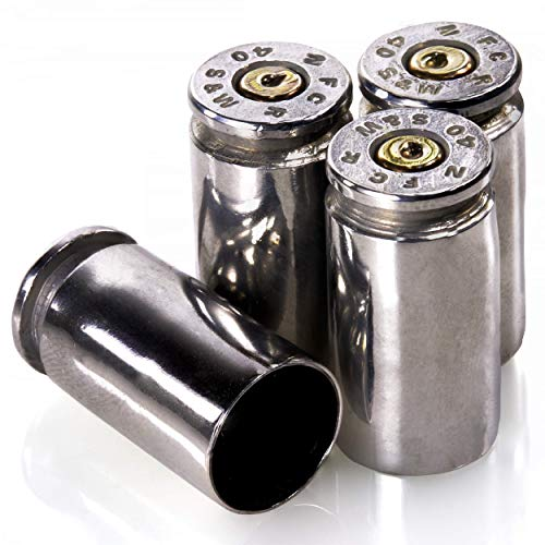 40 Caliber Valve STEM CAPS  Once Fired Bullet Round   Set of 4 (Nickel) from LUCKY SHOT