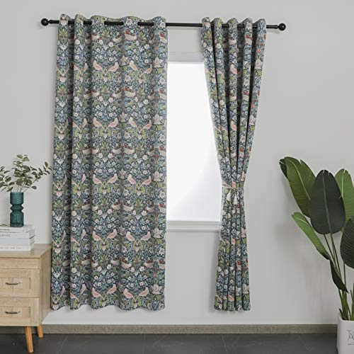 Obal William Morris Curtains For Living Room Original Design Eyelet Blackout Window Curtains Extra Long Thermal Curtains For Bedroom, 66' x 90' Drop, Dark Green Strawberry Thief Pattern (2 panels)