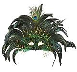 Maschera Carnevale Rio Pavone con piume...