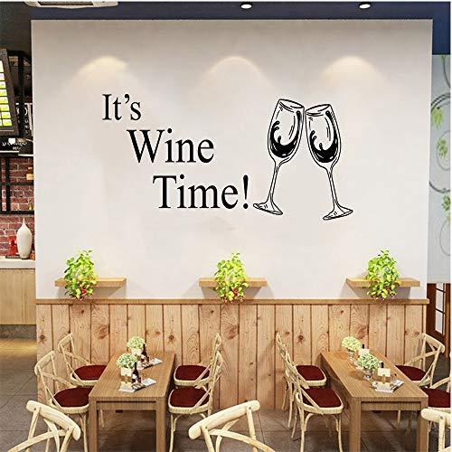 """SITAKE Wine Decor para la cocina, """"¡Es la hora del vino!"""" Etiqueta de la pared de la cocina, etiqueta engomada de la pared de los juegos del tema de las decoraciones de la cocina, 58 x 30cm"""