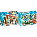 PLAYMOBIL Family Fun Chalet, A Partir de 4 años (9420) + Family Fun Piscina con Bomba de Agua para La Ducha, A Partir de 4 Años (9422)