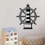 wZUN Pegatinas de Pared de Faro náutico océano Playa mar Volante Pegatinas de Vinilo baño Sala de Estar decoración del hogar 42X46cm