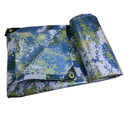 OGUAN Tienda impermeable, Camuflaje lona Pesado, PVC Azul marino camuflaje tela impermeable acolchado Lluvia de tela jardín lluvia planta de sombra Carpa de protección solar contra los rayos UV acampa