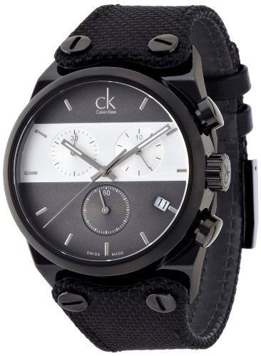 Calvin Klein Herren Chronograph Quarz Uhr mit Stoff Armband K4B384B3