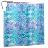 COLLA Mermaid Scales Geometric Purple Blue Aqua Teal Glare Ocean Theme Bath Shower Curtain Durable Polyester Fabric Waterproof with 12 Hooks 72x72 Inch for Bathroom Home Decor