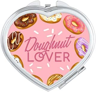 DIYthinker Doughnut Circle Western Dessert Food Heart Compact Makeup Mirror Portable Cute Hand Pocket Mirrors Multicolor