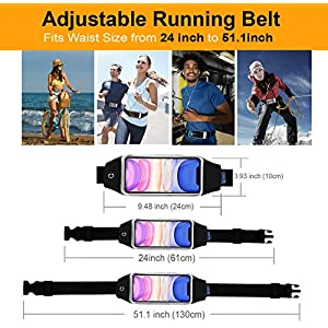 """QUANFUN Compatible iPhone Xs/XR/X/8 Plus/8 Running Belt Waist Bag, Fanny Pack Running Wristbands Sports Workout Fitness Holder Pouch Compatible Galaxy s8 s7 Plus,All UP to 6.4"""" Cell Phones"""