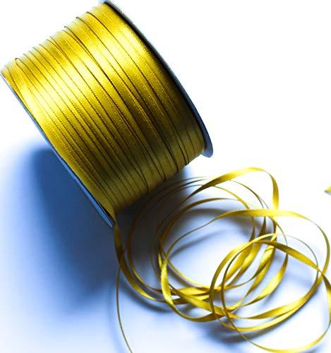 CaPiSo 200m Mega-Rolle 3mm Doppelseitig Beidseitig Glänzend Satin-Schleifenband Geschenkband Dekoband Dekorationsband Hochzeit Weihnachten (Gold)