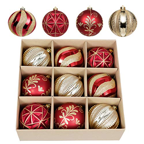 Valery Madelyn 9ct 100mm Luxury Red and Gold Shatterproof Christmas Ball Ornaments, Large Christmas Tree Ornaments Decoration, Themed with Tree Skirt (Not Included)