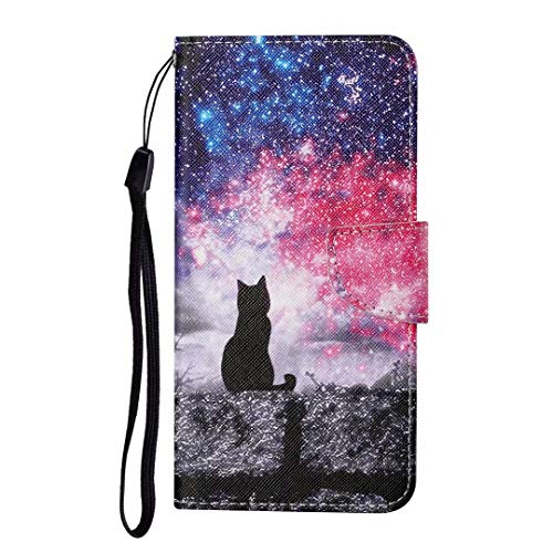 for Huawei P Smart 2019 Case, Shockproof Premium PU Leather Shock-Absorption Notebook Wallet Phone Cases with Magnetic Kickstand Card Holders Bumper Flip Protective Cover for Honor 10 Lite Sky Cat