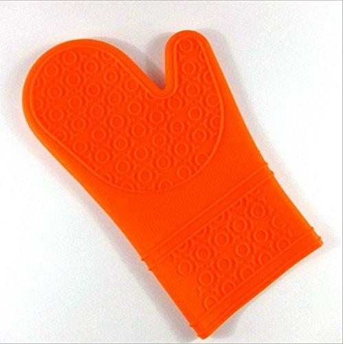 Dbtxwd isolation de gants pour le four à micro-ondes grand gel de silice gants cinq doigts de gants de cuisine chaleur résistant à la cuisson (pack de 2) , orange