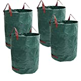 80 Gallons Reusable Garden Waste Bags - 4 Pack Reusable Lawn Bags (H33, D26 inches) Garden Bag Landscaping Bags Yard Bags Heavy Duty   Yard Waste Container Leaf Bags for Gardening Lawn Pool Waste Bin