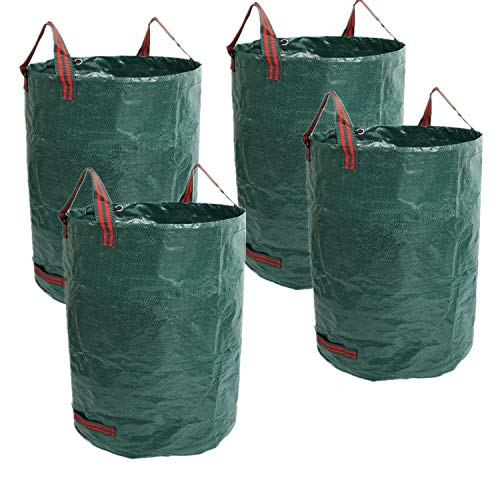 80 Gallons Reusable Garden Waste Bags - 4 Pack Reusable Lawn Bags (H33, D26 inches) Garden Bag Landscaping Bags Yard Bags Heavy Duty | Yard Waste Container Leaf Bags for Gardening Lawn Pool Waste Bin