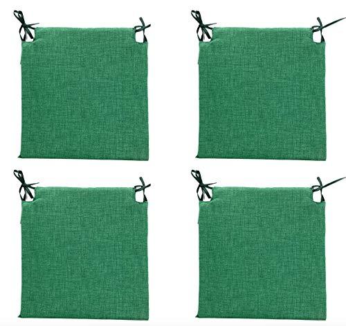 TIENDA EURASIA Pack 4 Cojines para Sillas - Estampados Lisos con 2 Cintas de Sujeción - Ideal para Interiores y Exteriores - 40 x 40 x 3 cm (Verde Botella)