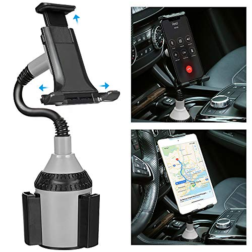 Cell Phone Car Mount TOOVREN Cup Phone Holder Adjustable Gooseneck Car Cupholder Cradle iPhone Car Mount for Tablet Cell Phone iPhone 11 Pro Max/Xs/Xr/8/7 Plus/Samsung Note 10/ Galaxy S10/S9/A9